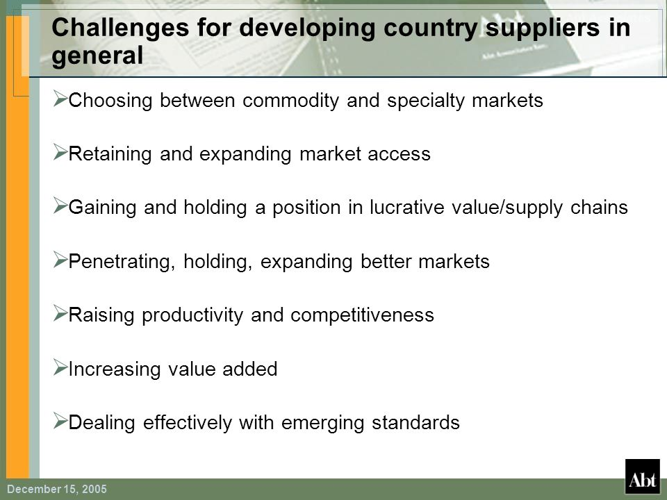 Challenges for developing country suppliers in general