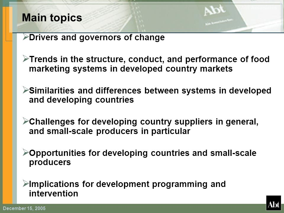 Main topics Drivers and governors of change