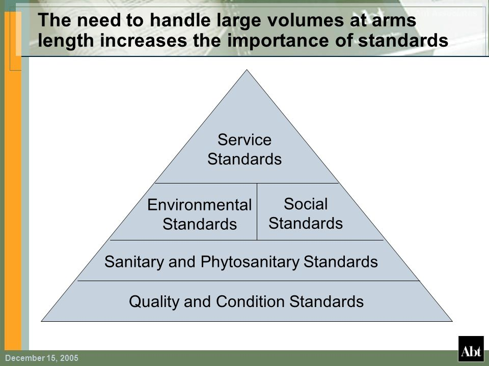 The need to handle large volumes at arms length increases the importance of standards
