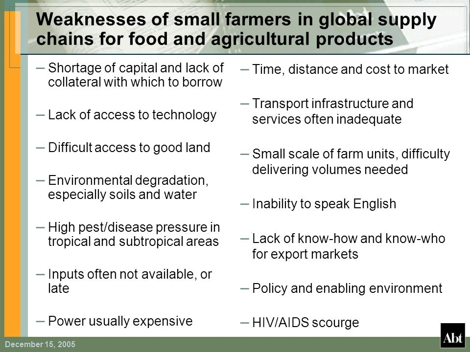 Weaknesses of small farmers in global supply chains for food and agricultural products