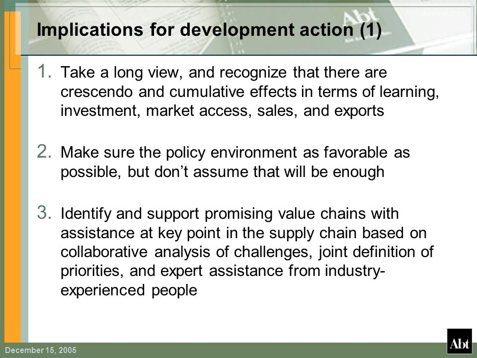 Implications for development action (1)