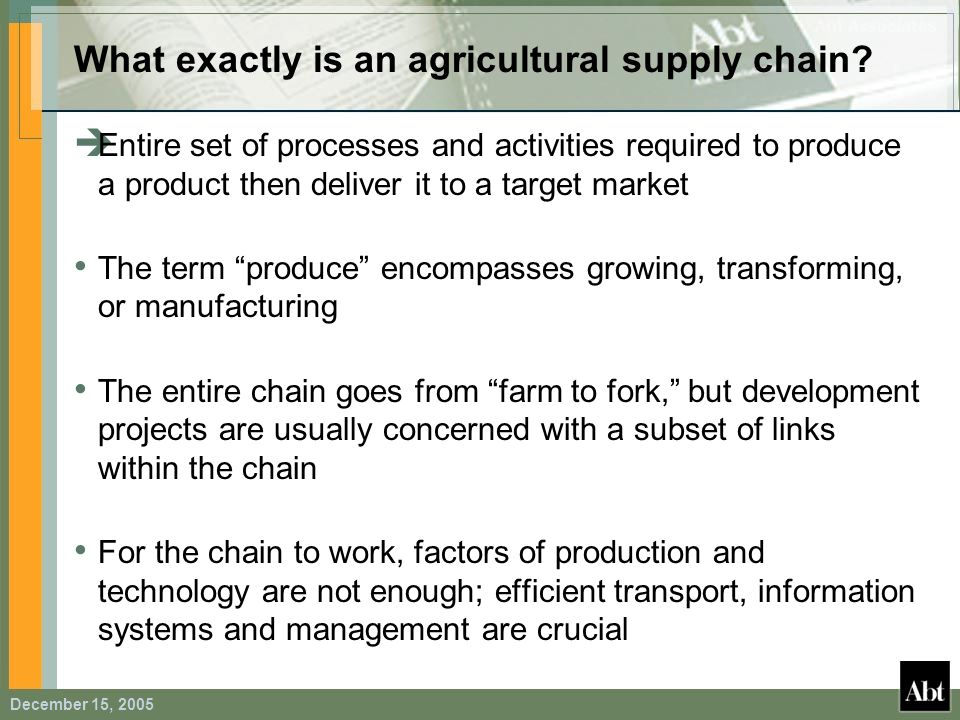 What exactly is an agricultural supply chain
