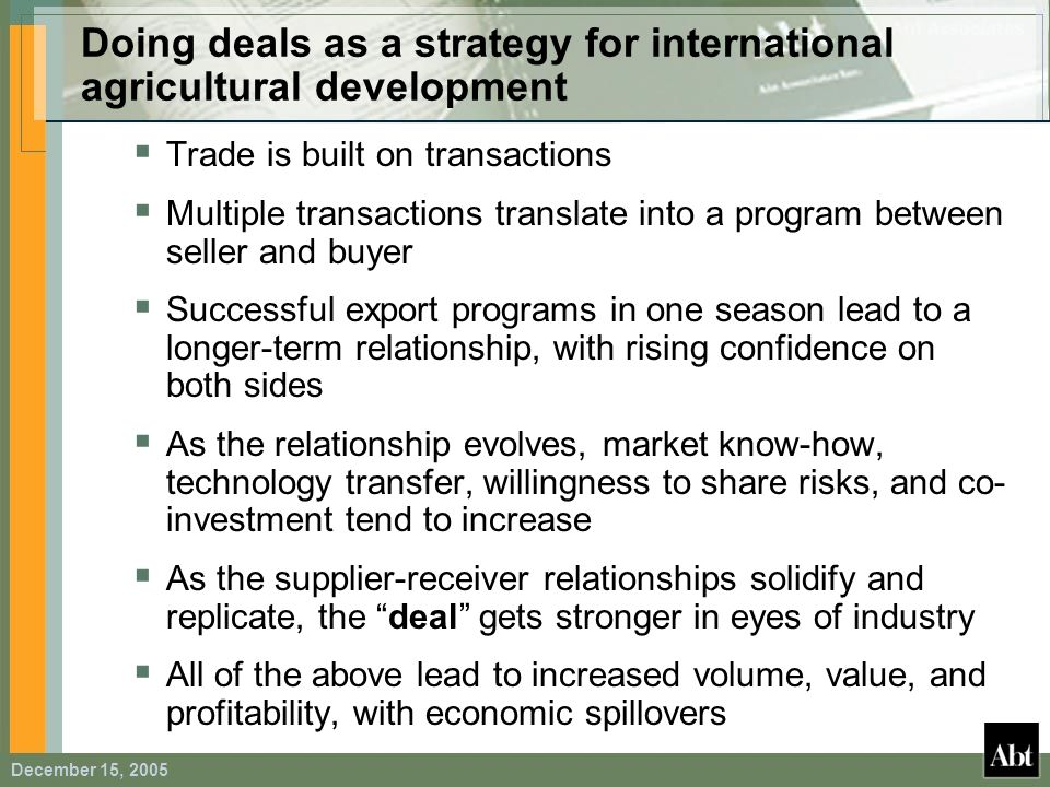 Doing deals as a strategy for international agricultural development