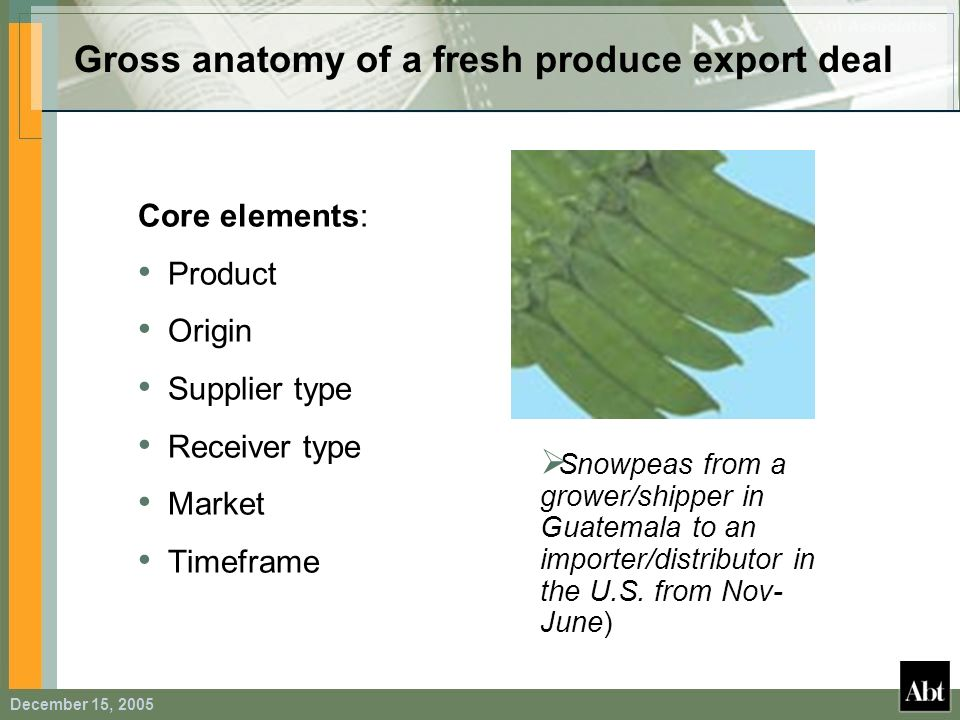 Gross anatomy of a fresh produce export deal