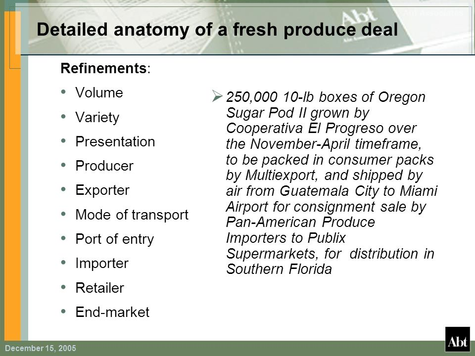Detailed anatomy of a fresh produce deal