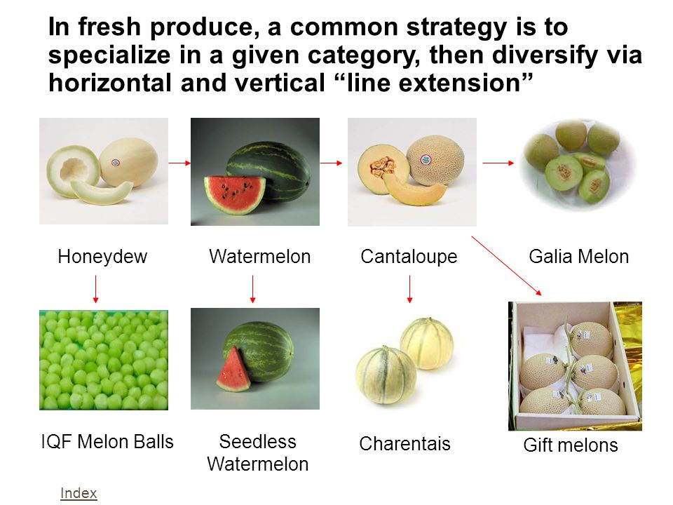 In fresh produce, a common strategy is to specialize in a given category, then diversify via horizontal and vertical line extension
