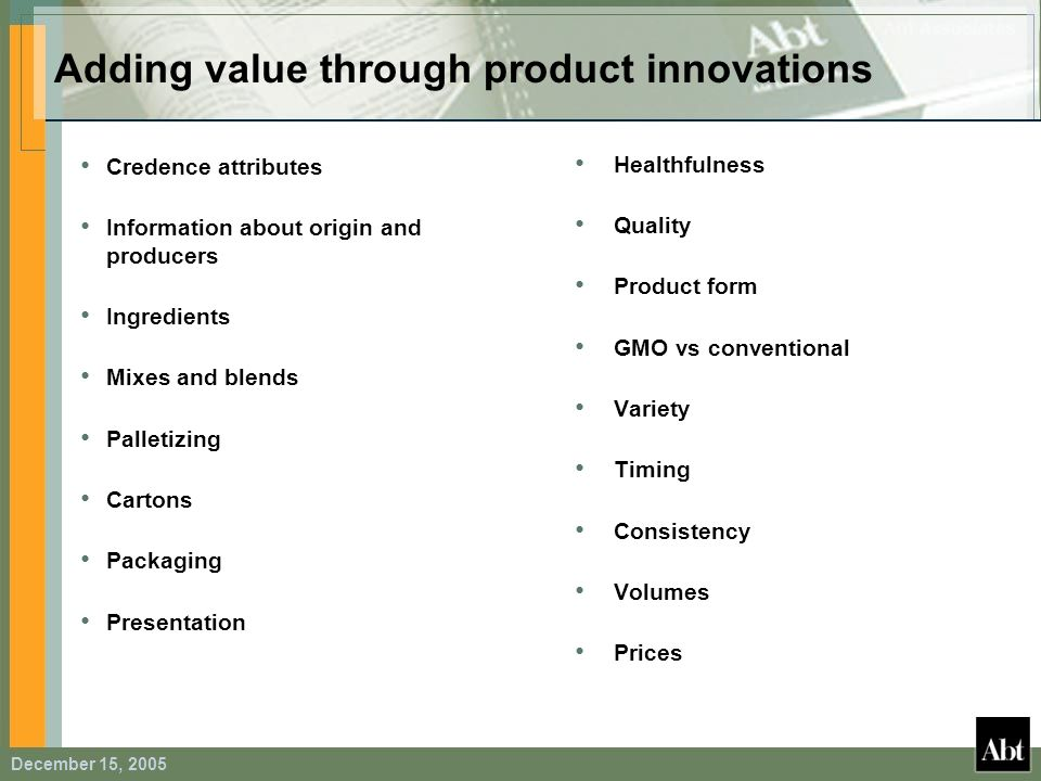 Adding value through product innovations