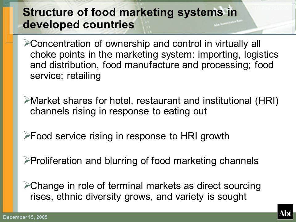 Structure of food marketing systems in developed countries