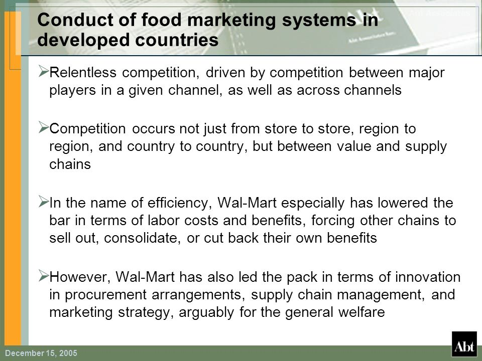 Conduct of food marketing systems in developed countries