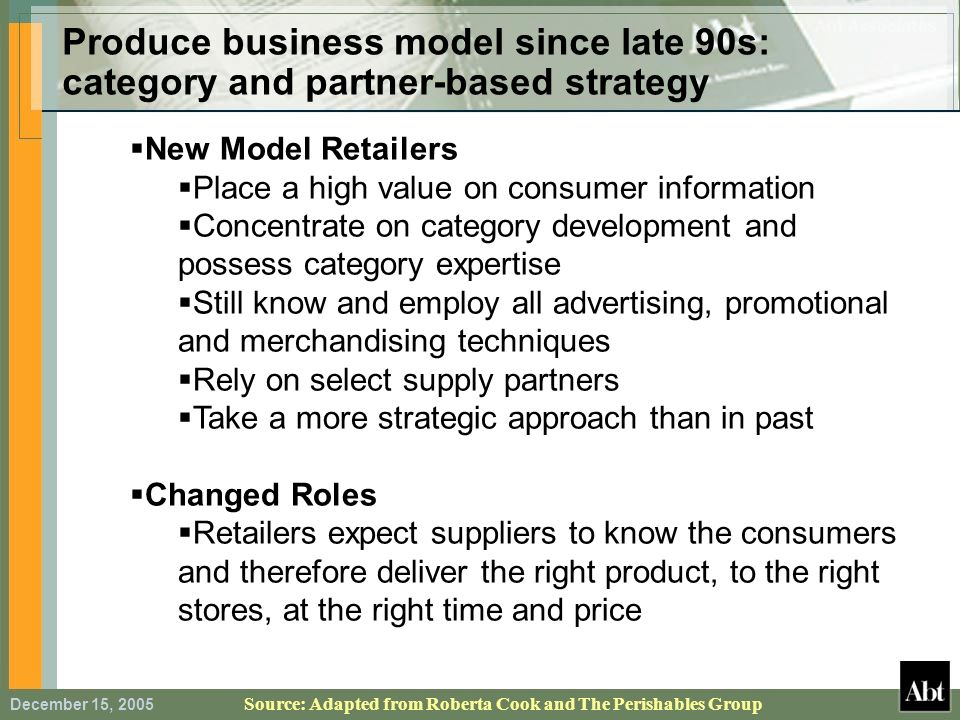 Produce business model since late 90s: category and partner-based strategy