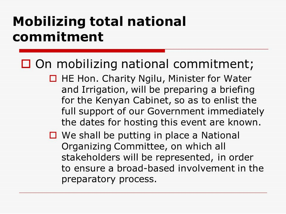 Mobilizing total national commitment