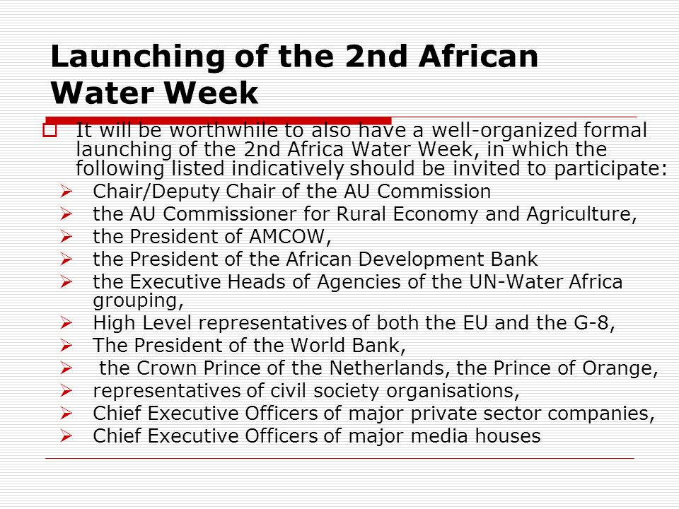 Launching of the 2nd African Water Week