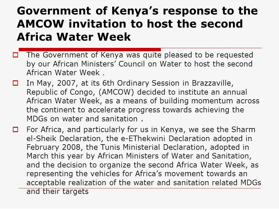 Government of Kenya's response to the AMCOW invitation to host the second Africa Water Week