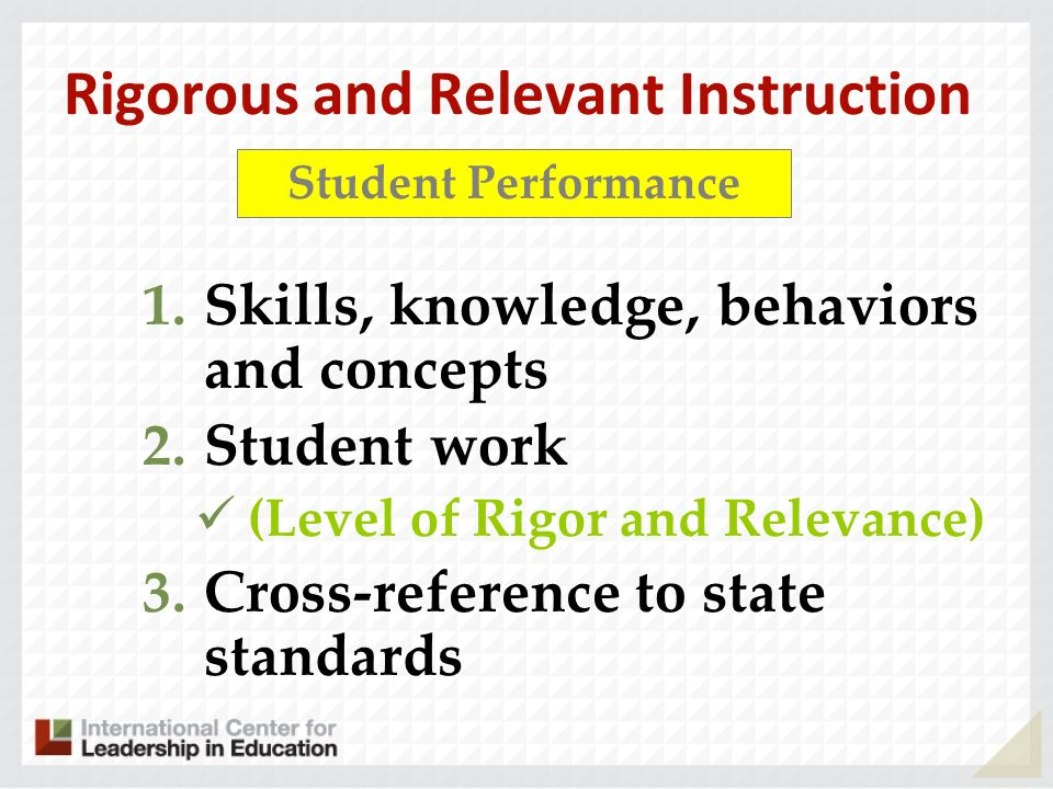 Rigorous and Relevant Instruction