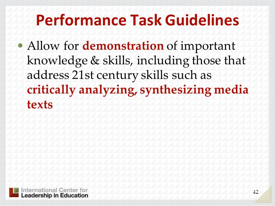 Performance Task Guidelines
