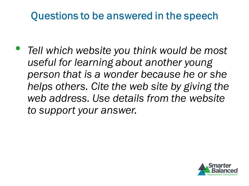 Questions to be answered in the speech