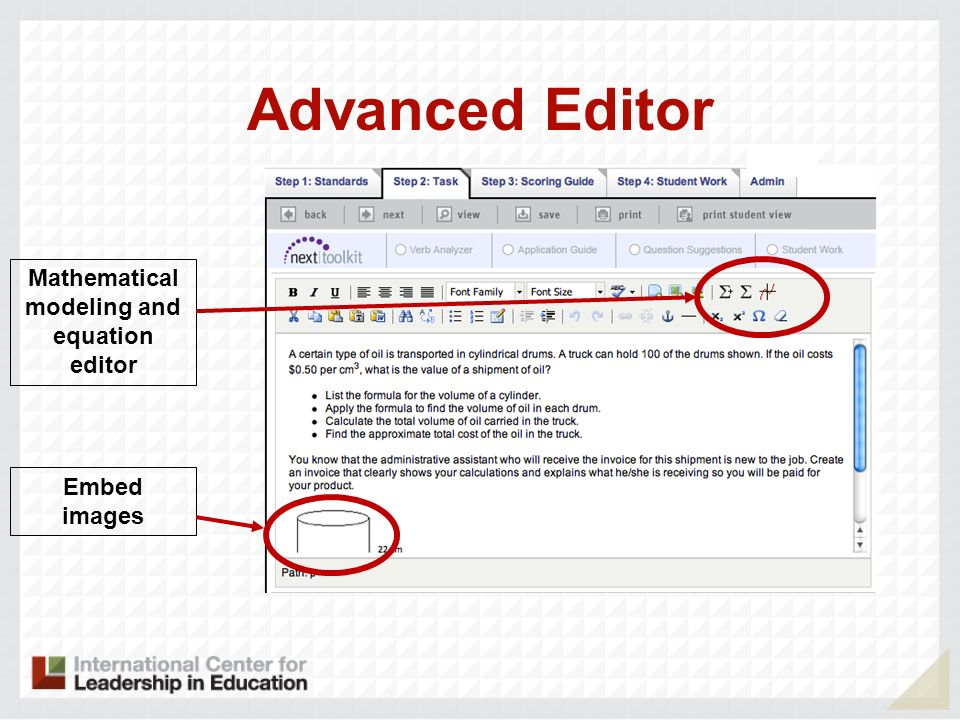 Mathematical modeling and equation editor