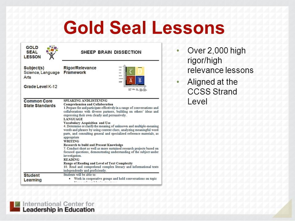Gold Seal Lessons Over 2,000 high rigor/high relevance lessons