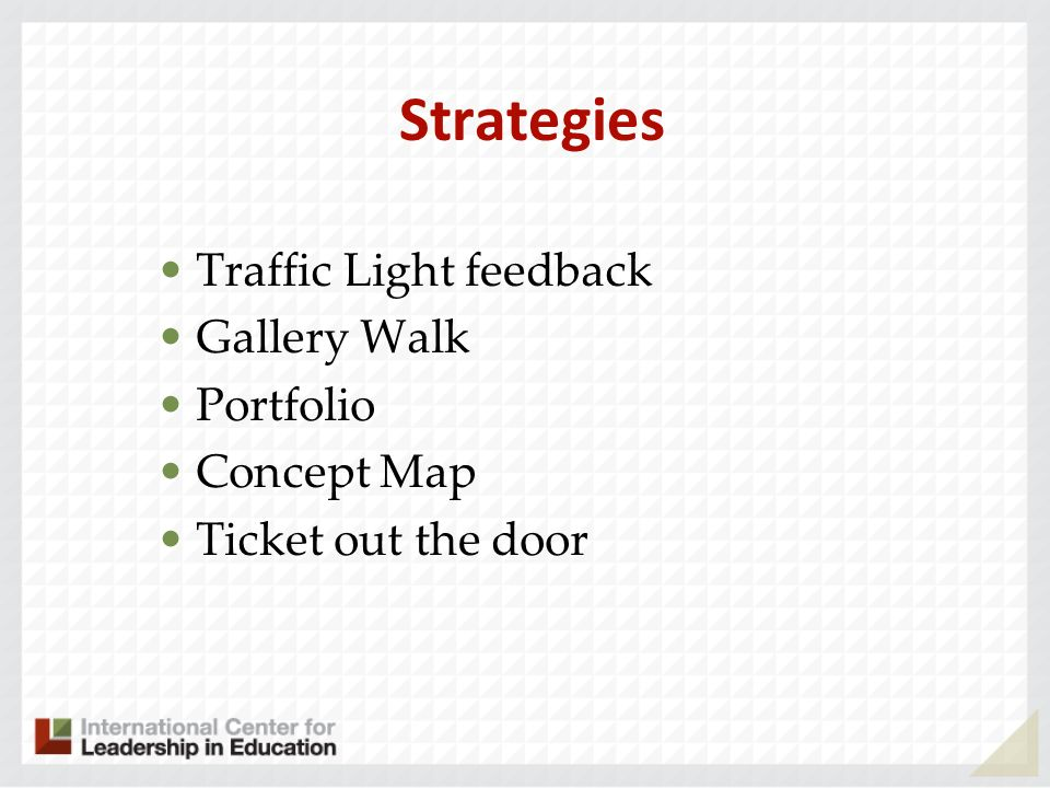 Strategies Traffic Light feedback Gallery Walk Portfolio Concept Map