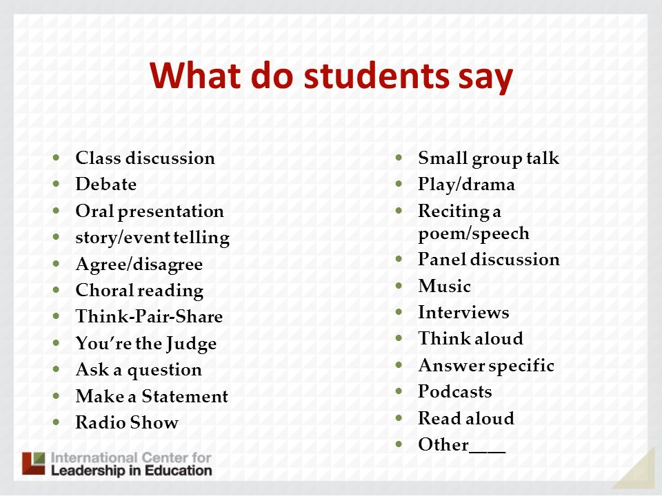 What do students say Class discussion Debate Oral presentation