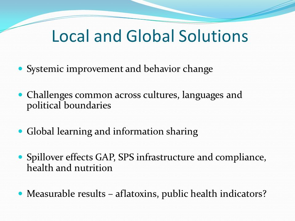 Local and Global Solutions