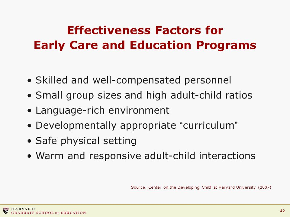 Effectiveness Factors for Early Care and Education Programs