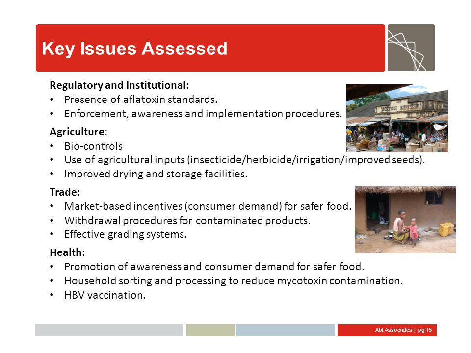 Key Issues Assessed Regulatory and Institutional: