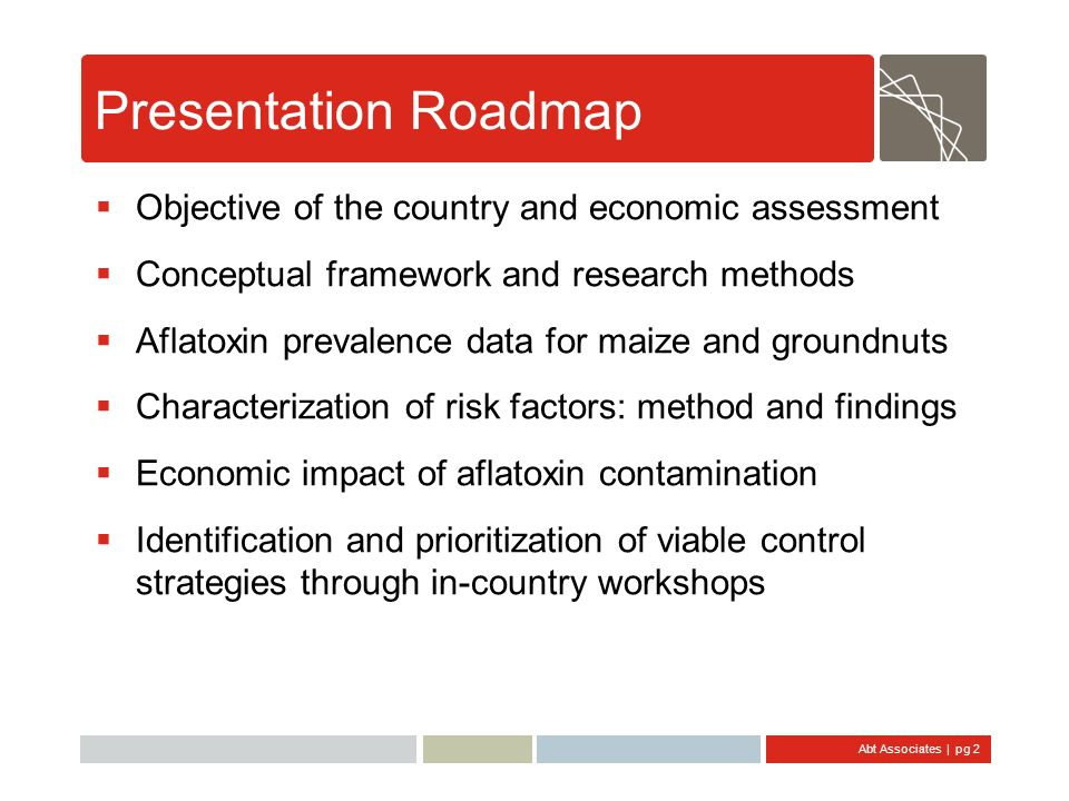 Presentation Roadmap Objective of the country and economic assessment