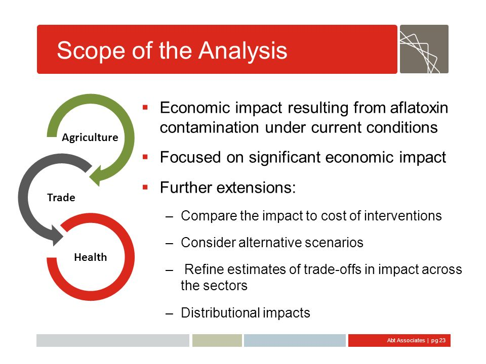 Scope of the Analysis Agriculture. Trade. Health. Economic impact resulting from aflatoxin contamination under current conditions.