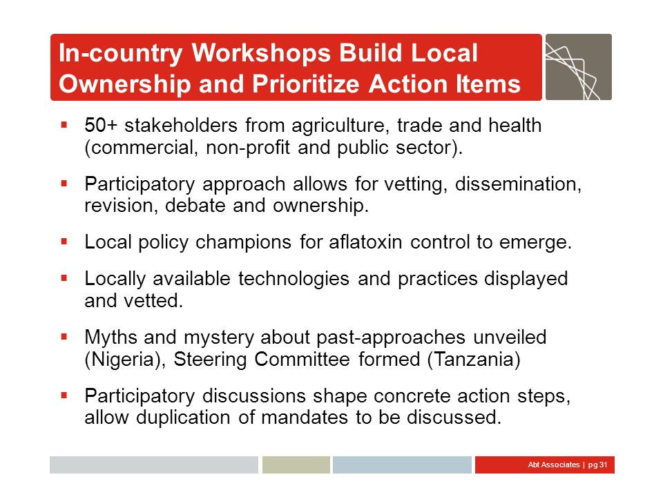 In-country Workshops Build Local Ownership and Prioritize Action Items