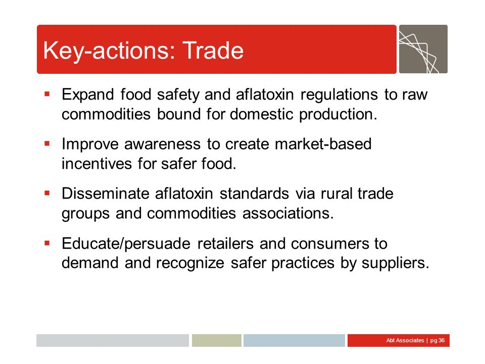 Key-actions: Trade Expand food safety and aflatoxin regulations to raw commodities bound for domestic production.