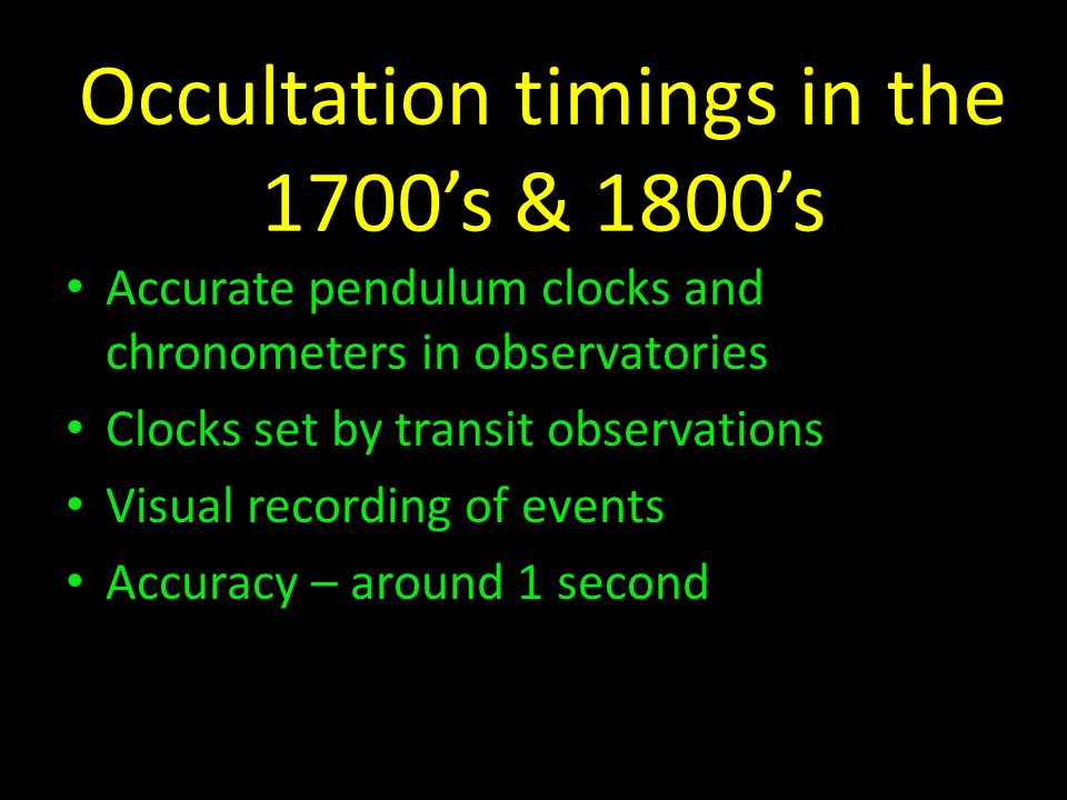 Occultation timings in the 1700's & 1800's