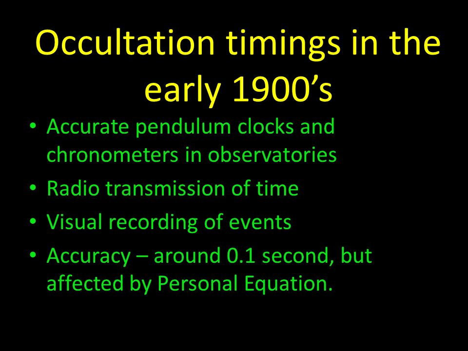 Occultation timings in the early 1900's