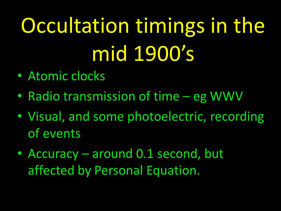 Occultation timings in the mid 1900's
