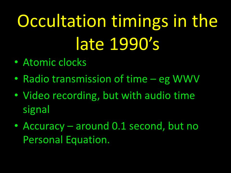 Occultation timings in the late 1990's