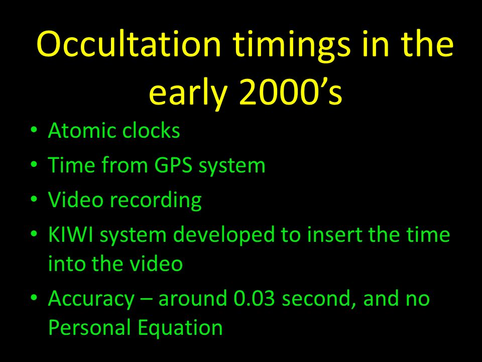 Occultation timings in the early 2000's
