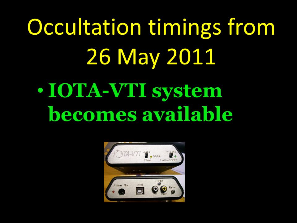 Occultation timings from 26 May 2011