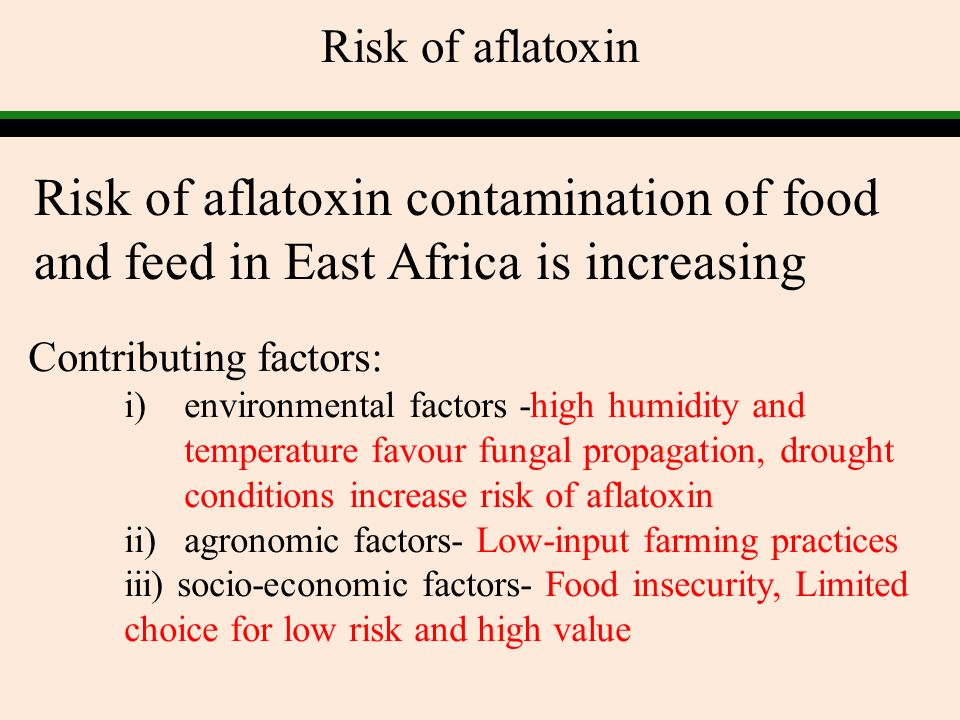Risk of aflatoxin Risk of aflatoxin contamination of food and feed in East Africa is increasing. Contributing factors:
