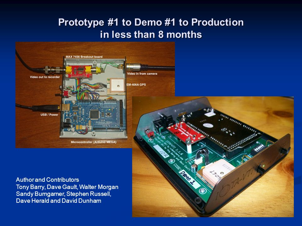 Prototype #1 to Demo #1 to Production in less than 8 months