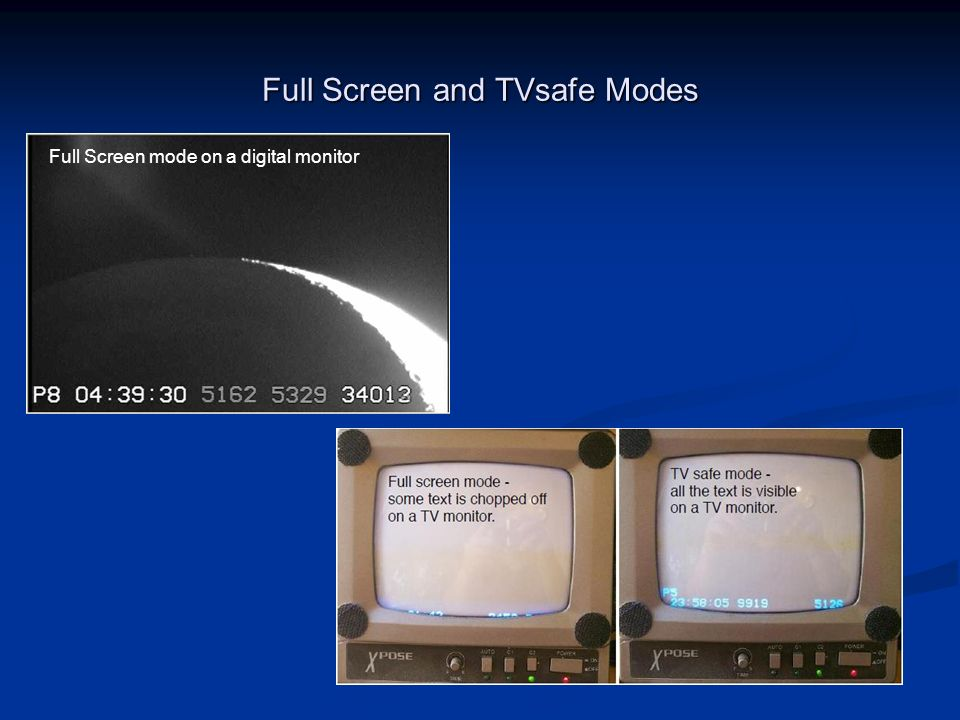 Full Screen and TVsafe Modes