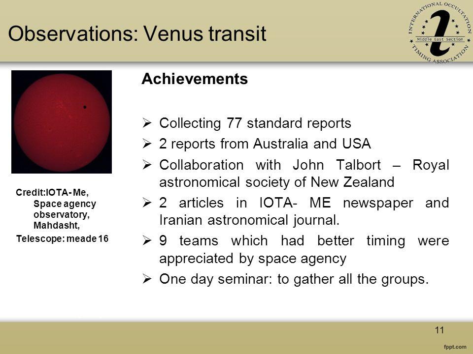 Observations: Venus transit