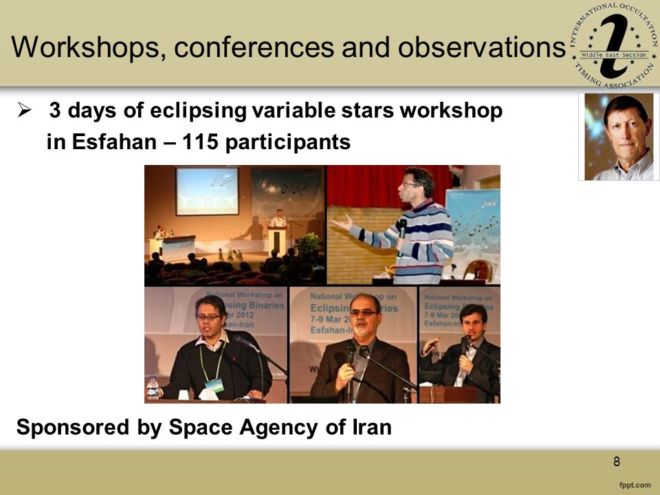 Workshops, conferences and observations