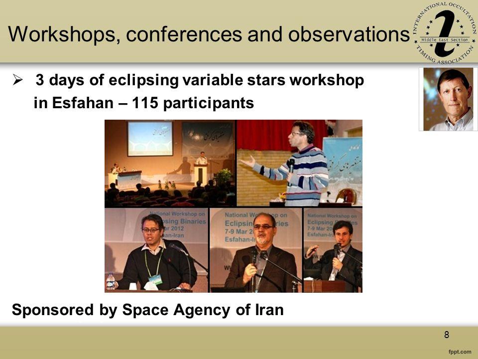 Workshops, conferences and observations