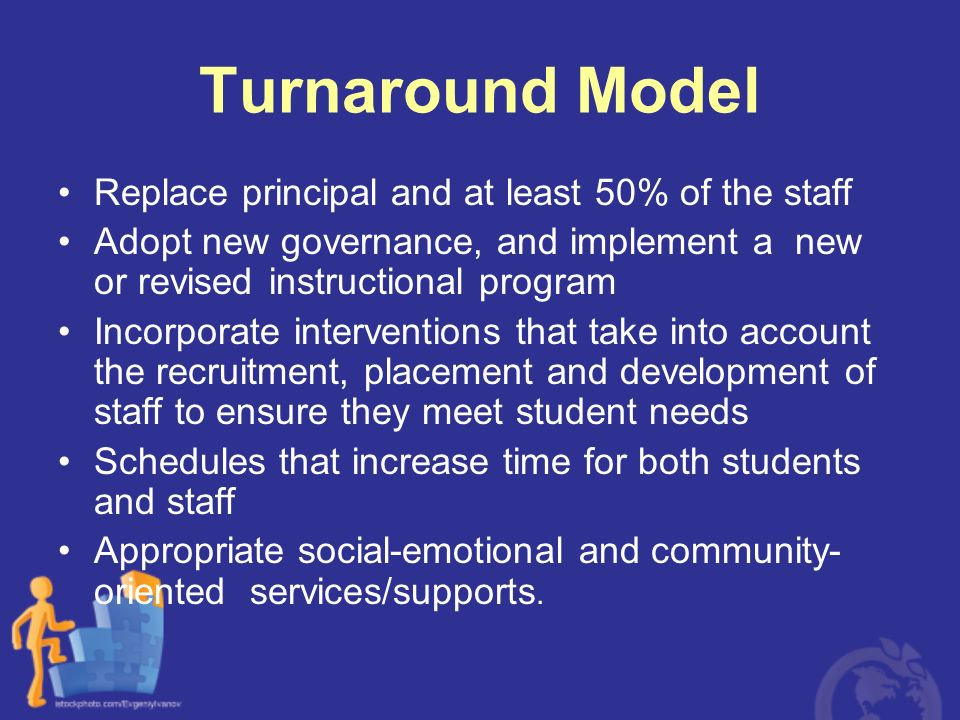 Turnaround Model Replace principal and at least 50% of the staff