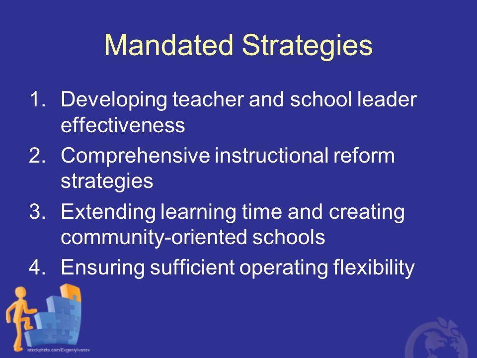 Mandated Strategies Developing teacher and school leader effectiveness