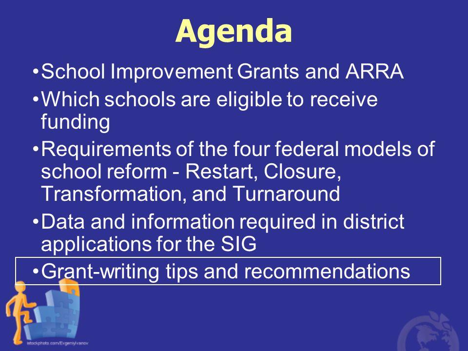 Agenda School Improvement Grants and ARRA