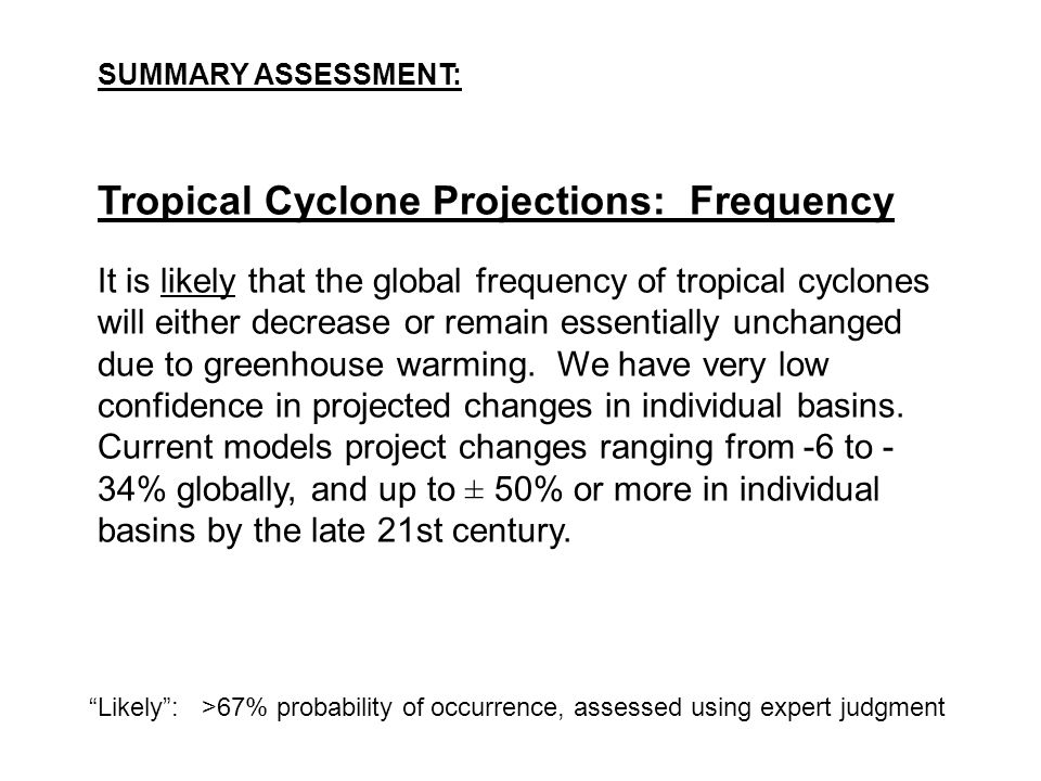 Tropical Cyclone Projections: Frequency