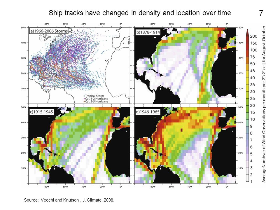 Ship tracks have changed in density and location over time