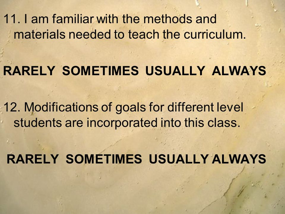 11. I am familiar with the methods and materials needed to teach the curriculum.