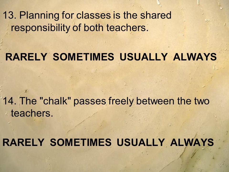 13. Planning for classes is the shared responsibility of both teachers.